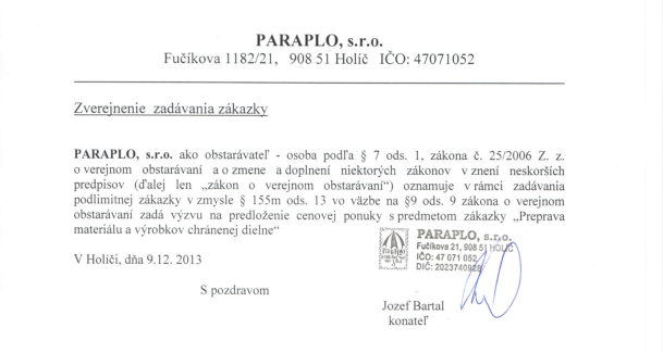 PARAPLO, s.r.o. Zverejnenie zadavania zakazky_001_a